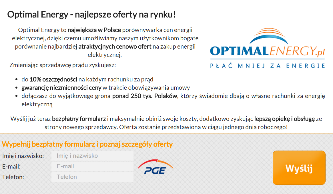 Optimal Energy - formularz