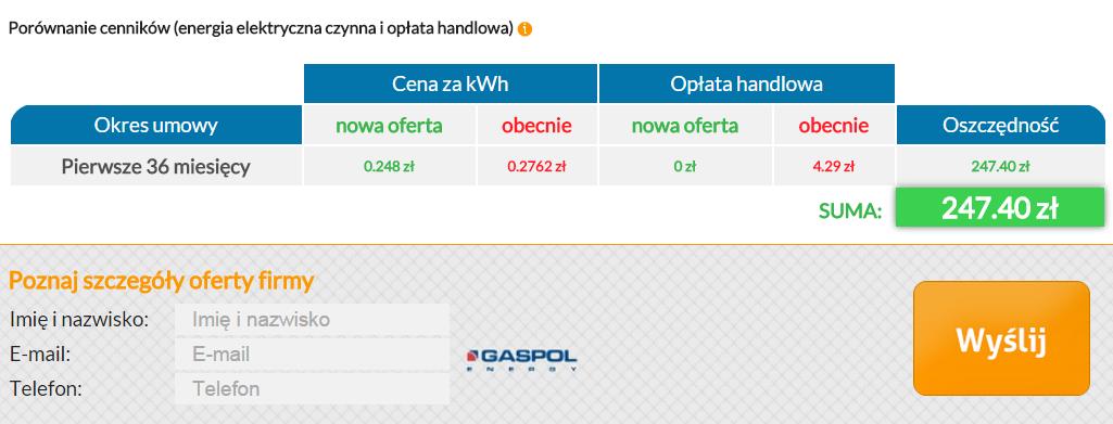 Optimal Energy - oferta Gaspolu