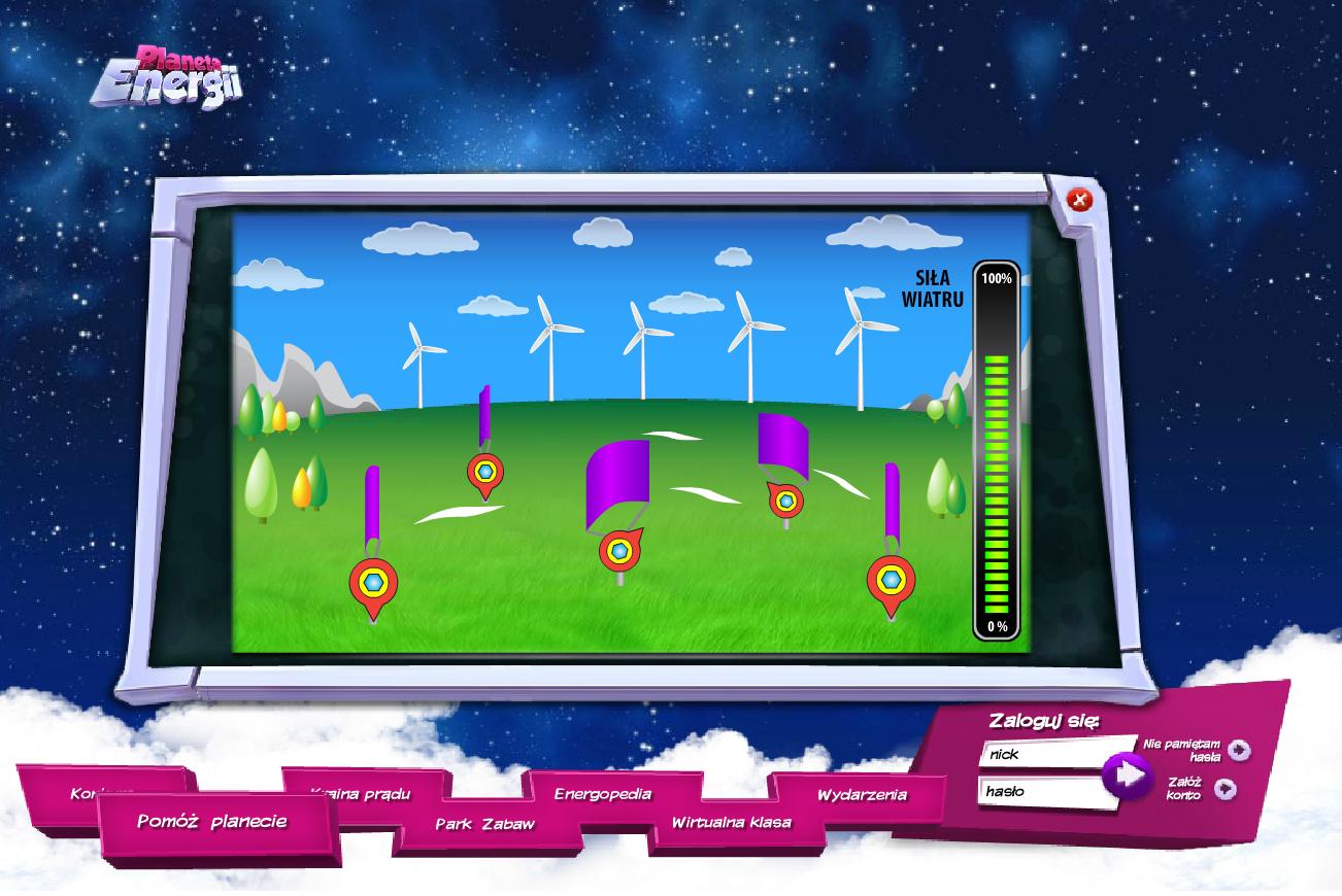 Planeta Energii - elektrownia wietrzna - gra